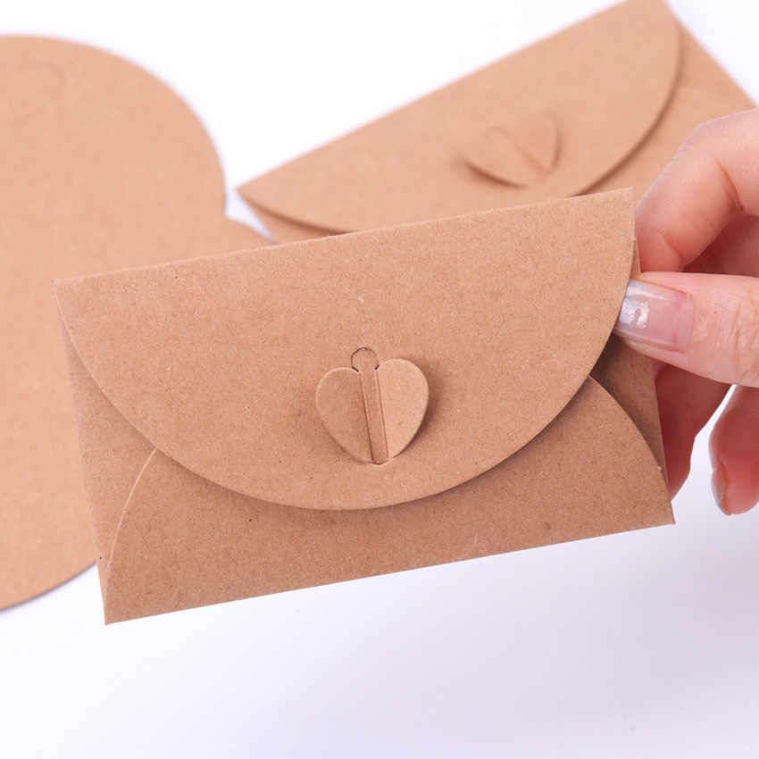 10PCS Love Button Envelope Craft Paper Envelopes Vintage European Style Envelope For Card Scrapbooking Gift