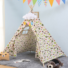 Baby Tents Canvas Cotton Triangle Tipi Cartoon Cute Indian Children's Tent Outdoor Kids Play House Portable Foldable Game Teepee