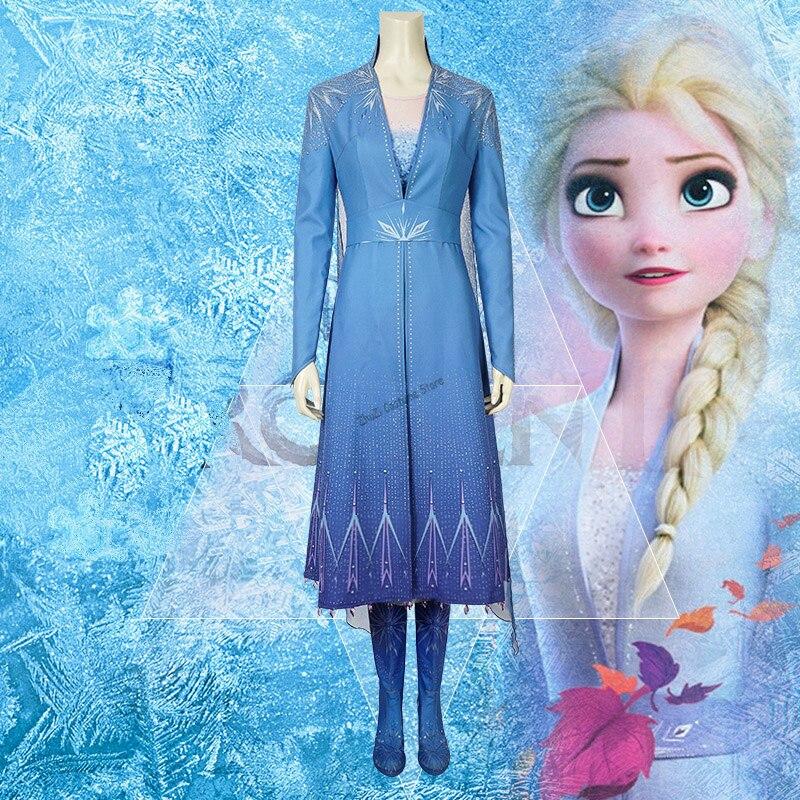 New Adult Elsa Costume Cosplay Fancy Dress Ice Snow Queen Princess Ana Elsa 2 Women Girl Halloween Carvinal Birthday Party Dress
