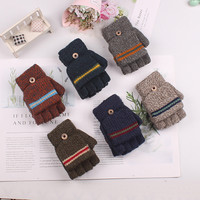 New 8-12 Years Old Boy Winter Gloves Children's Half Finger Warm Knit Gloves With Flip Cover Knitted Mittens L0927