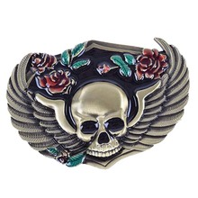 Zinc Alloy Gothic Flower Skull Men Belt Buckle Western Cowboy Bronze