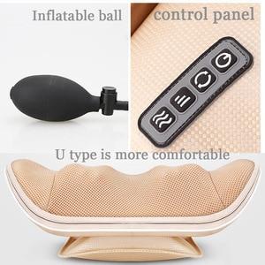Image 5 - U shape massage pillow Massager for neck waist Cervical Shiatsu Massage Cushion Heating relax back massager electric reflexology