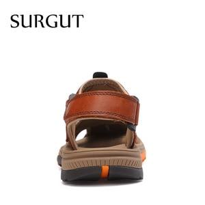 Image 3 - SURGUT buty męskie oryginalne skórzane męskie sandały letnie buty męskie plażowe moda Outdoor Casual antypoślizgowe trampki obuwie rozmiar 46