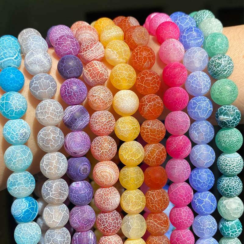 Natural Coloful Frost Cracked Agates Stone Beads Round Loose Spacer Beads For Jewelry Making DIY Bracelet Handmade 4/6/8/10/12mm