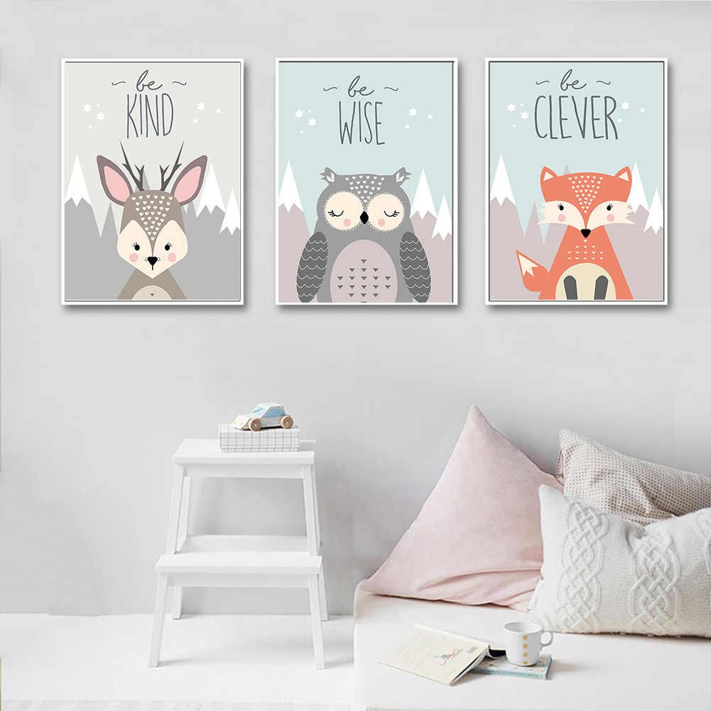 ラブリー漫画フォックスフクロウ鹿ノルディックフレームレスのキャンバスの絵画アート印刷、ポスター画像のウォールベビールームの子供の寝室の家の装飾
