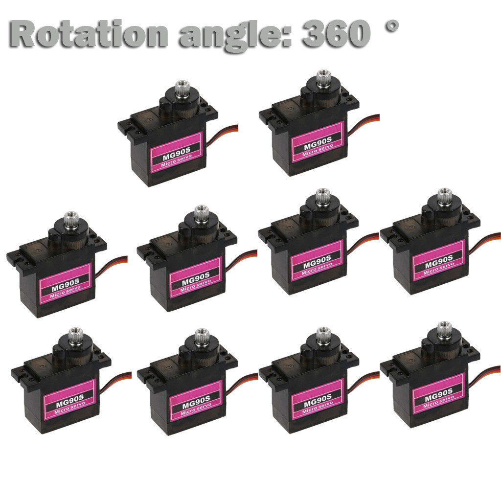 10Pcs MG90S Micro Metal Gear 9g Servo For RC Plane Helicopter Boat Car 360° Durable Kids Toys Juguetes Brinquedos игрушки New