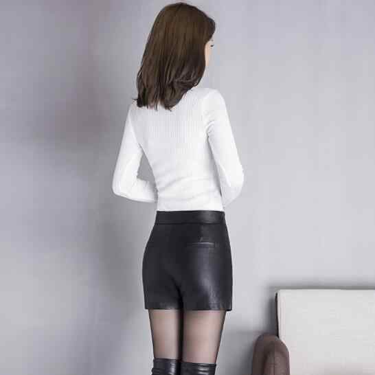 2020 frauen Schwarz Pu Leder 3xl 4xl Rock Shorts Weibliche Womans Spitze Up Shorts DV741