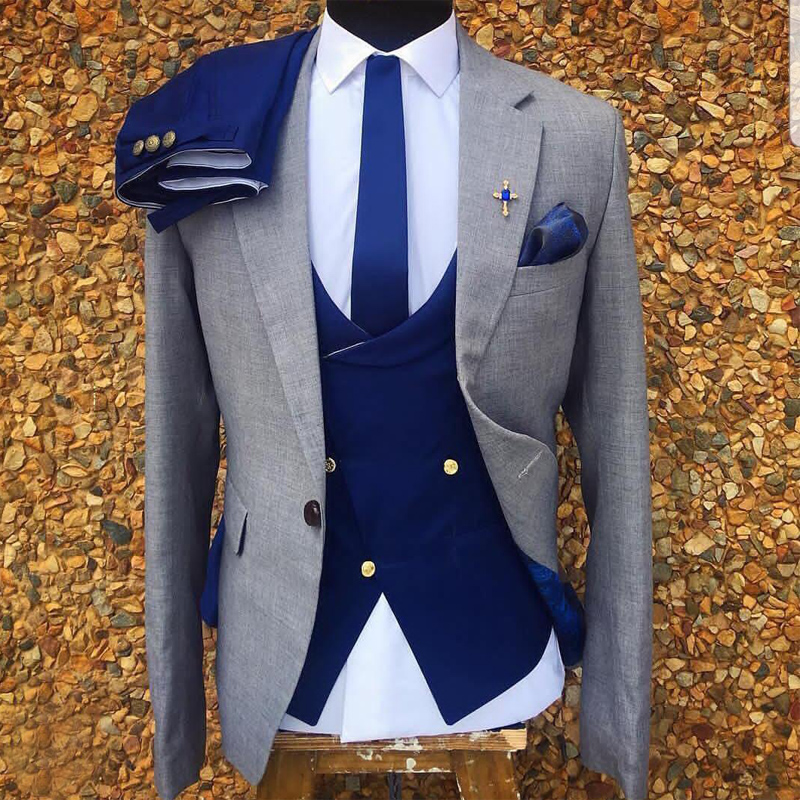 3 Piece Gray Wedding Tuxedo for Men Formal Suits Set Jacket Double Breasted Waistcoat with Royal Blue Pants Male Fashion Costume