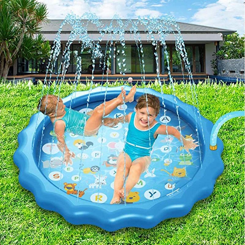 170cm Children Play Water Mat PVC Beach Pad Kids Outdoor Water Spray Beach Mat Lawn Inflatable Sprinkler Cushion Dropshipping
