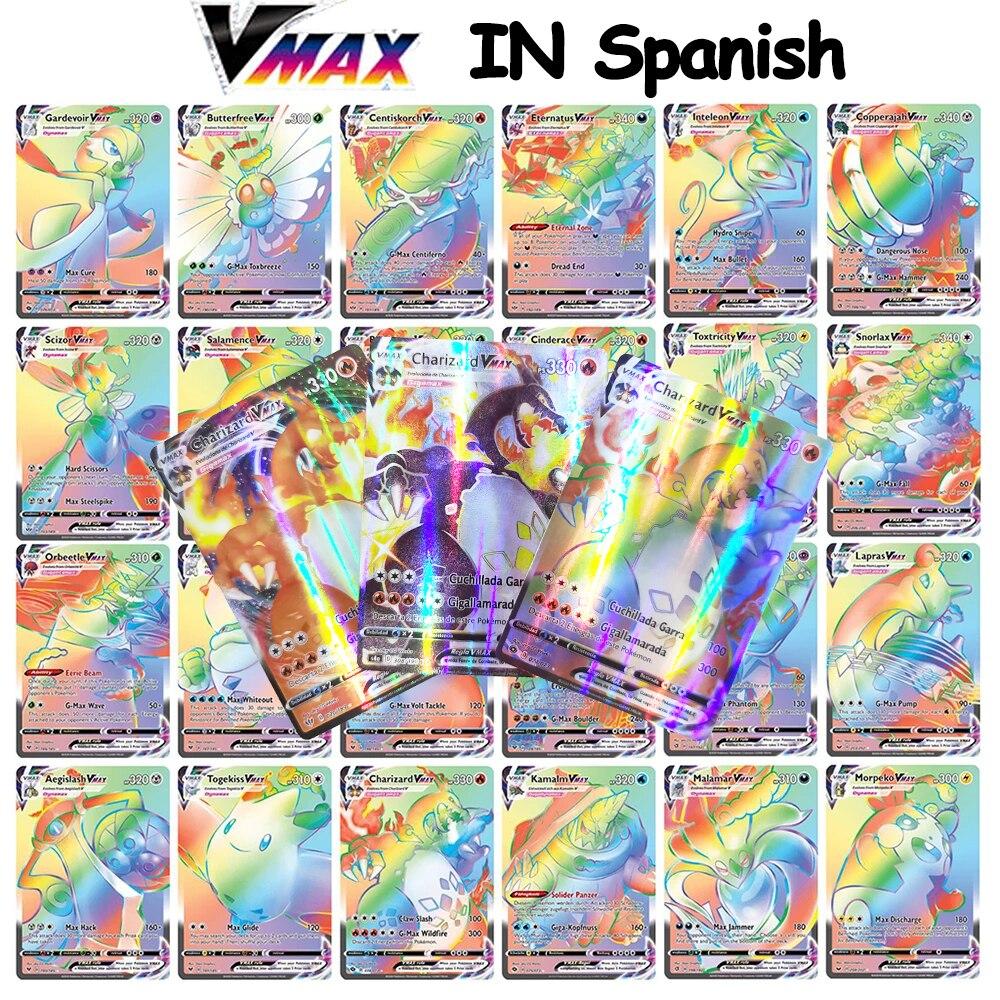 Голографические игральные карты VMAX с покемоном на испанском языке, Новое поступление 2021, игра Castellano Español, детская игрушка
