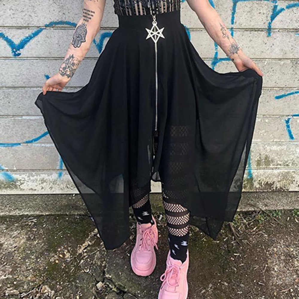 Gothic Maxi Skirt Women Summer Mesh Black Streetwear Fashion Pentagram Zipper High Waist Goth Girl Long Skirts