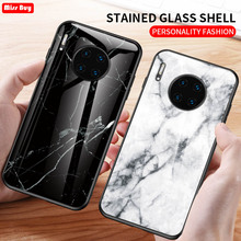 Marble Tempered Glass Case For Huawei Mate 30 Cover Luxury Coque Lite Soft Bumper Pro Capa