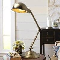 Amerikanischen metall lange arm retro schreibtisch lampe schlafzimmer nacht lampe alle kupfer klapp lesen kreative LED schreibtisch lampe freies verschiffen-in LED-Tischleuchten aus Licht & Beleuchtung bei