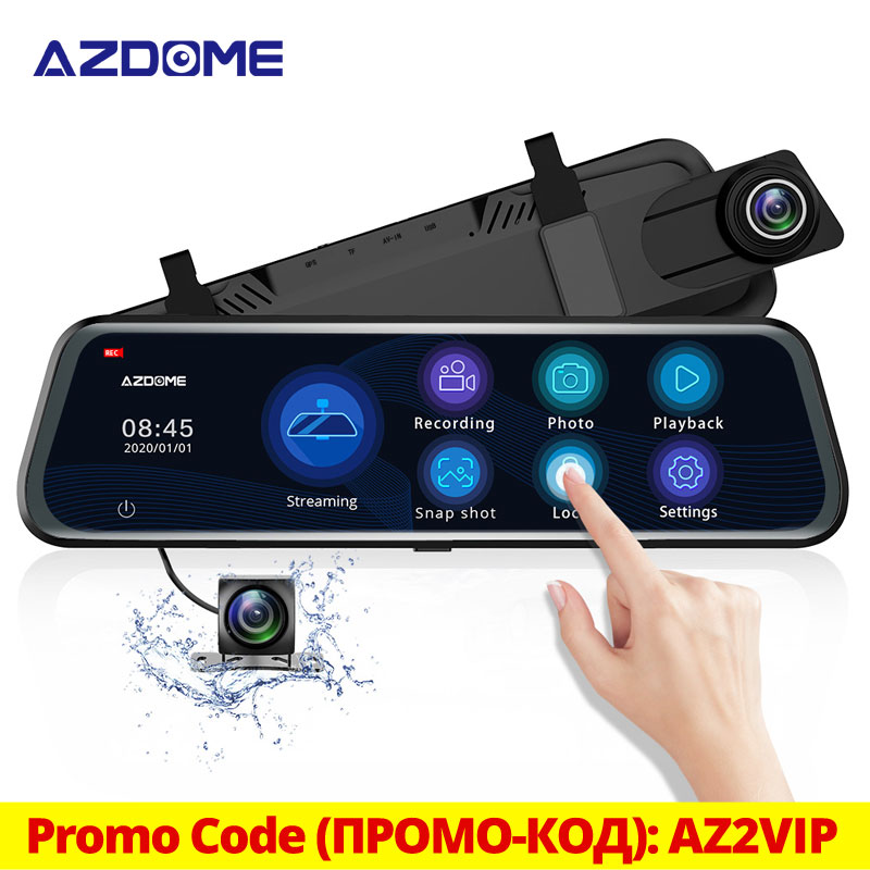 AZDOME 10'' PG12 Touch Screen 1080P Car DVR Camera Streaming Media Dash Cam Dual Lens Night Vision Rearview Mirror Support GPS(China)