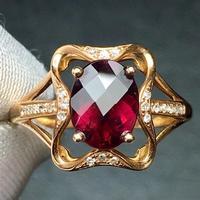 Rubillite Ring Fine Jewelry Pure 18 K Gold Natural Rubi Tourmaline 1.6ct Gemstone Diamond Gift Female Rings for Women Fine Ring