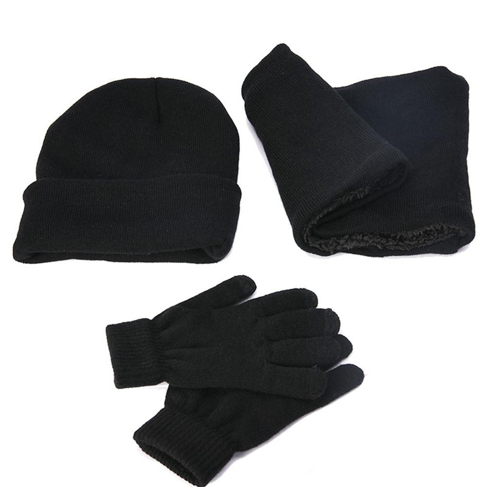 3Pcs Fashion Unisex Winter Fall Solid Color Cuffed Knitted Hat Gloves Scarf Set Fall Solid Cuffed Knitted Hat Gloves Scarf Set