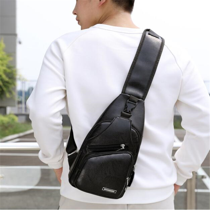 Male Shoulder Bag USB Charging Crossbody Chest Bag For Men Anti Theft Chest Waist Pack Trip Messenger Bags Single Strap Back Bag