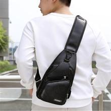 Male Shoulder Bag USB Charging Crossbody Chest Bag For