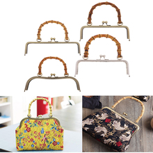 Metal Frame Kiss Clasp Lock with Bamboo Handle for DIY Coin Purse Bag Accessories Tone Bag Hardware