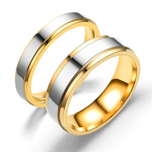 Simple Fashion tainless Steel Wedding Ring High Grade Double Step Gold Couple Classic Elegant Jewelry Gift Accesories