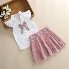 Girls Clothing Sets Summer New Baby Girls Fashion Style Cartoon Leopard Print T-Shirts+Net Leopard Skirt 2Pcs Girls Clothes(China)