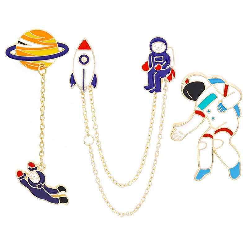 ファッション新宇宙飛行士地球ウサギガールエナメル動物惑星ブローチバッジピンバッジ