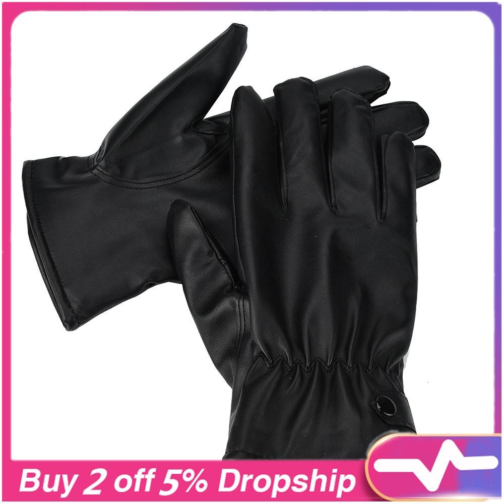 Winter Gloves Men Fashion Warm Cashmere Leather Male Winter Gloves Driving Waterproof Перчатки Без Пальцев Перчатки Женские 30