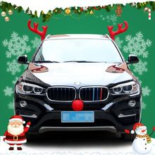 Car Christmas Antlers Decoration For Funny Reindeer Headwear Red Nose New Year Ornaments Home Supplies