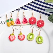 كوريا جديد لطيف الفاكهة سيدة أقراط الفراولة الأناناس الطماطم الكيوي البرتقال الخيار التنين التفاح الأناناس فتاة الفاكهة أقراط