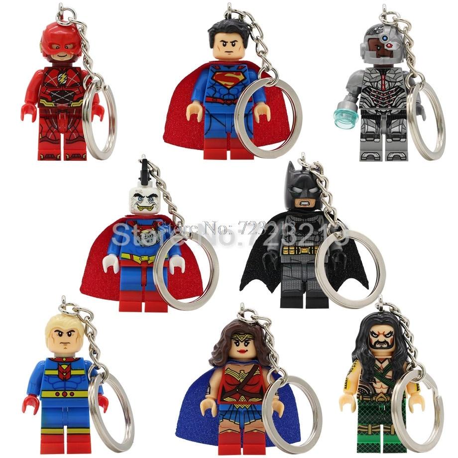 Super Hero Superman Bizarro Figure Keychain Cyborg The Flash Aquaman Scott Free Batman Mr Miracle Building Blocks Model Toys