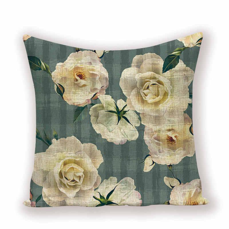 Dom kwiat rzuć poszewka na poduszkę piwonia Rose poduszka dekoracyjna okładka kwiatowy Sofa pościel poduszki przypadki roślin pokrowce na poduszki