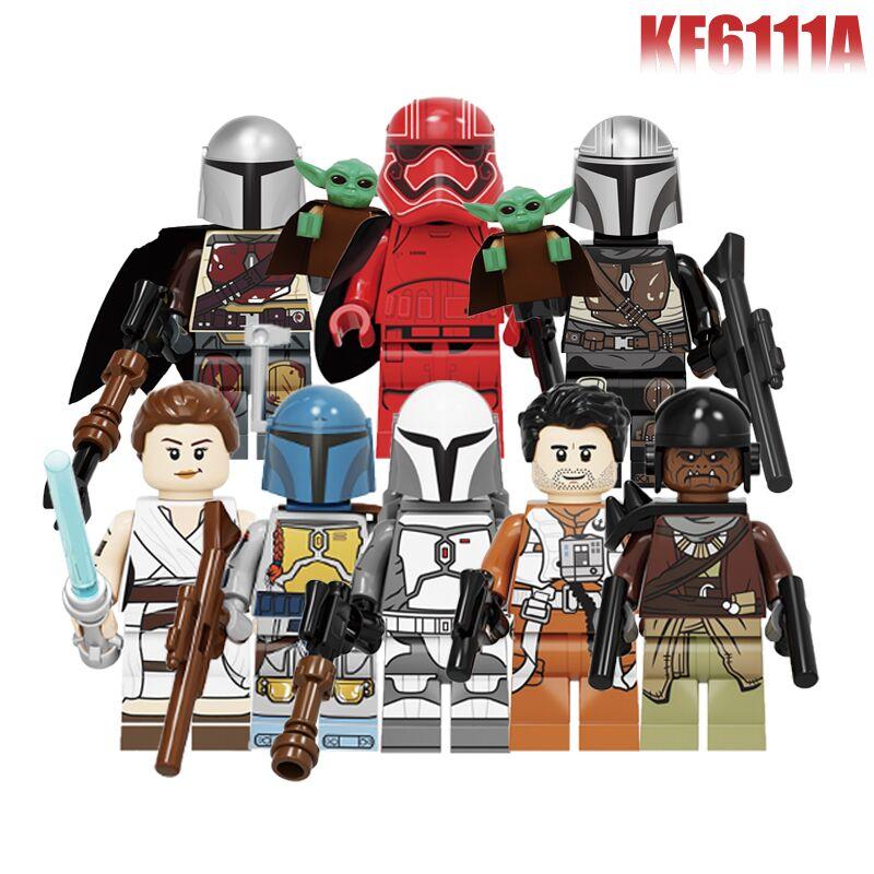 Set Sale Yoda Baby Building Blocks Wars Darth Vader Yoda Rey PoE Dameron Mandalorian Jango Fett Figure For Children Toys KF6111A