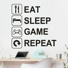 "Adhesivo de pared KAKUDER, letras ""Eat Sleep Game Repeat"", vinilo extraíble, Mural, pegatinas de pared, sala de estar, Adhesivo de pared 2020(China)"