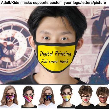 10pcs a lot Custom Adult/Kids Mouth Mask 3D Digital Printing LOGO mask Windproof Mouth-muffle bacteria proof Flu Face masks Care