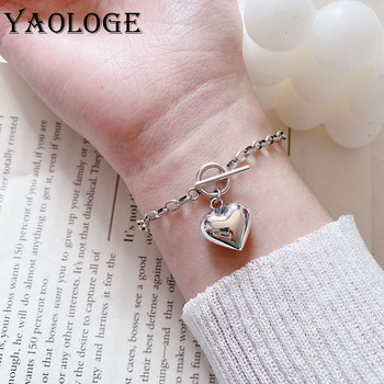 YAOLOGE Isn Fashion Classic Bracelets for Women Vintage Punk 3D LOVE Heart Pendant Birthday Party Jewelry Gift Wholesale VBS4047 image