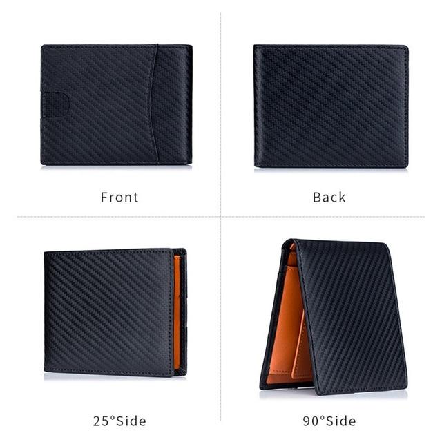 High Quality RFID Blocking Man Carbon Fiber Thin Wallets Microfiber Slim Bank Credit Card Holder For Male Simple Short Purse 6