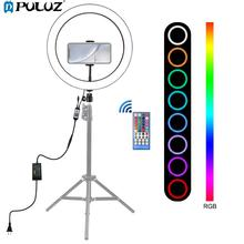 PULUZ 12 inch Ring Light & Phone Holder Dimmable RGB LED Selfie Ring Lights & Remote for Photos & YouTube Videos