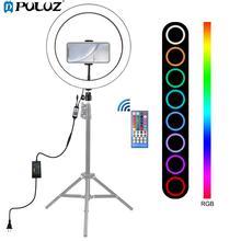Puluz anel de luz de led de 12 polegadas, com suporte de telefone e luz rgb, regulável, anel de selfie, controle remoto, para fotos e youtube vídeos