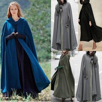 Zima moda kobiet jeden przycisk płaszcz z kapturem płaszcz z kapturem peleryna z kapturem średniowieczne kostiumy poncza X długi szary zielony czarny niebieski