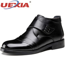 UEXIA New Winter Men Snow Boots High Quality Leather Man Ankle Boots Snow Warm F
