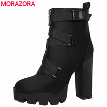MORAZORA 2020 new arrival ankle boots women autumn winter high heels platform boots zip buckle sexy party prom shoes female