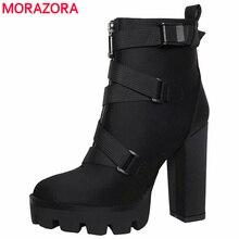 Morazora 2020 新着アンクルブーツ女性秋冬ハイヒールプラットフォームブーツバックルセクシーなパーティーウエディングシューズ女性