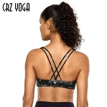 CRZ YOGA kadın hafif destek çapraz geri Wirefree çıkarılabilir bardak Yoga spor sütyeni