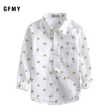 GFMY 2019  Autumn 100% Cotton Full Sleeve Fashion Printing boys Shirt 24M Casual Kid Clothes 9016