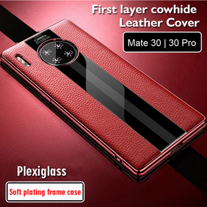 Image 2 - Luxury Genuine Leather Case For Huawei Mate 30 Pro Case Leather Shockproof Back Cover funda Mate30 Pro Protector Case