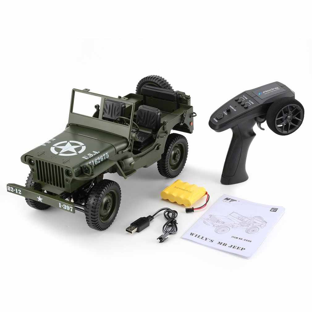 C606 1:10 RC Car 2.4G 4WD Convertible Remote Control Light Jeep Four-Wheel Drive Off-Road Military Climbing Car Toy Kid Gift HOT