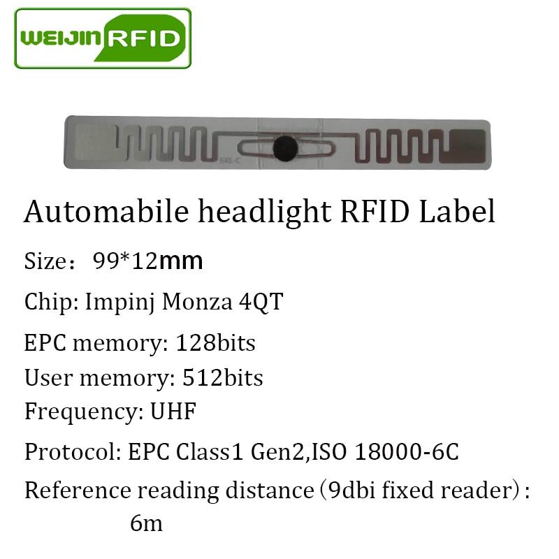 Купить с кэшбэком RFID tag UHF sticker automobile headlight EPC 6C 915mhz868mhz860-960MHZ M4QT waterproof adhensive passive RFID Windshield label