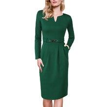 Vfemage Womens bahar zarif çentik V boyun pileli cepler ince iş iş ofis kokteyl parti Casual lale Shift elbise 185