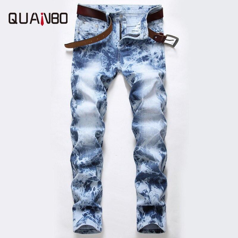 QUANBO Men's Light Wash Straight Regular Slim Fit jeans fashion Distressed Stretch Jeans Pants Plus Size Denim Trousers