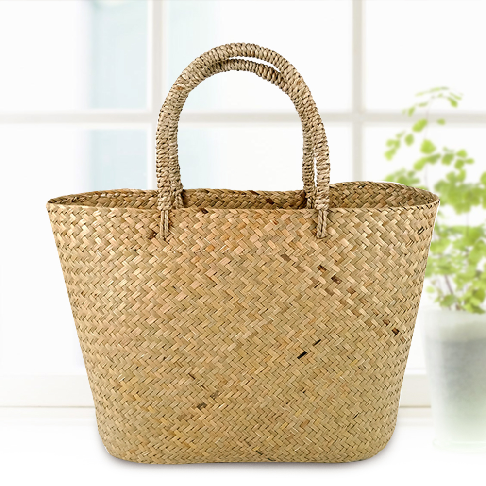 Shopper Eco-friendly Girls Summer Beach Casual Reusable Shopping Women Handbag Travel Basket Straw Woven Tote Handmade Everyday